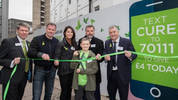 Andrew Cannell, Jamie Carragher, Sam Quek, Reece Holt, Graeme Sharp and Ian Snodin launch The New Cancer Hospital Appeal at the site of the new Clatterbridge Cancer Centre in Liverpool.